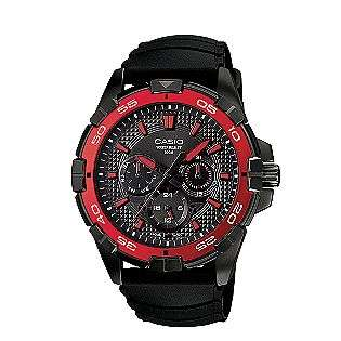 Mens Diver Style Calendar Day/Date Watch w/Red/Black Case, Multi