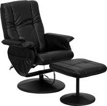 Black Big Leather Recliner and Ottoman w/Leather Wrap Base Home Office