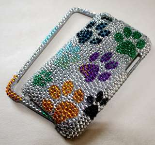 iPod iTouch 4th GEN 4G PURPLE GREEN YELLOW BLUE DOG PUPPY PAW BLING