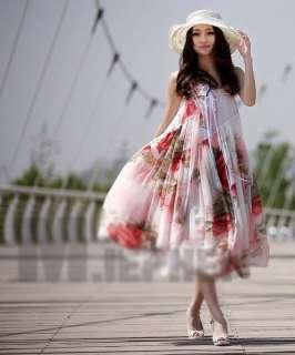 Bohemia Lady Floral Print Strapless Wide Hem Chiffon Maxi Dress Long