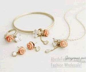 ROSE JEWELRY SETS BRACELET RING NECKLACE EARRING i1024