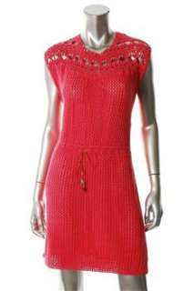 FAMOUS CATALOG Moda Pink Casual Dress Crochet Embellished L