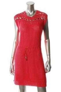 FAMOUS CATALOG Moda Pink Casual Dress Crochet Embellished L |
