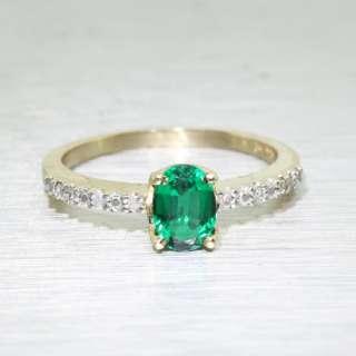 Elegant Vintage 10K Yellow Gold Ladies Emerald Diamond Ring