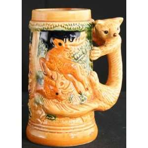 Vintage Japanese Barware Ceramic Beer Stein Fox Deer Boar