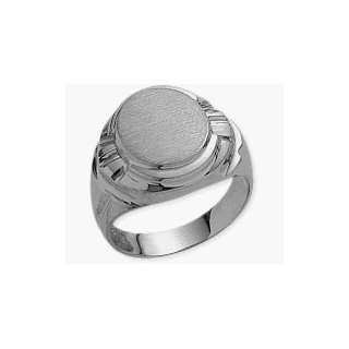 Mens Designer Oval 10 Karat White Gold Ring   10