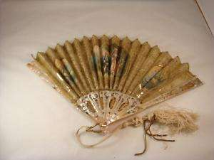 Antique Mother Of Pearl Hand Painted Fan French 19th C.