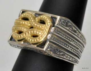 New KONSTANTINO Mens Sterling Silver 18K Yellow Gold Knot Ring