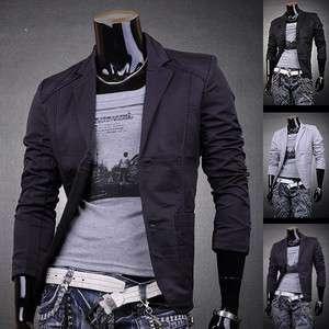 SWM Mens Designer Slim Fit Jacket Blazer Coat Shirt Stylish 3 Colors S