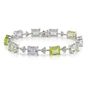 Gold, Diamond, Green Amethyst, Rose de France, and Peridot Bracelet