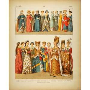 1882 Costume French Medieval Queen Ladies Princess Lady