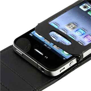 Black Wallet Leather Card Holder Flip Case Cover Pouch For iPhone 4 4S