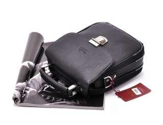 Mens Leather Black Messenger Shoulder Briefcase Satchel BAG Crossbody