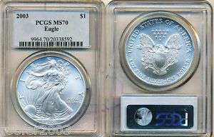 2003 $1 PCGS MS70 SILVER AMERICAN EAGLE NO MINT MARK VERY RARE .999