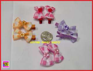 small girl hair clip pin bow Barrettes PURPLE RED F dog