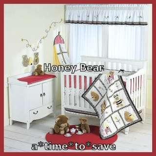 NEW Honey Bear Bee Red Black White Boy Girl Baby Crib 8pc Quilt