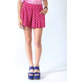 Pleated Polka Dot Shorts  FOREVER21   2000042868