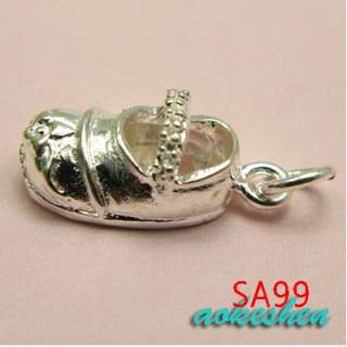 ASSORTED 925 STERLING SILVER CHARM PENDANTS BEADS SHOES FIT BRACELET