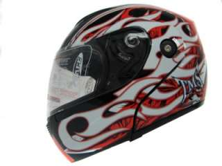/Red/White Flip Up Modular Full Face Motorcycle Helmet Street DOT ~ L