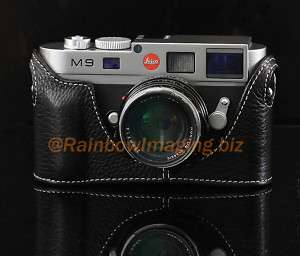 Black Half Real Genuine Leather Case for Leica M9 M8