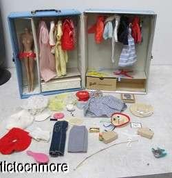 VINTAGE BARBIE DOLL CASE & CLOTHES NURSE TENNIS ANYONE PICNIC SET