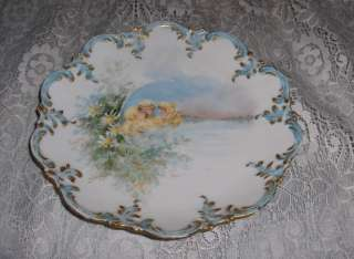 Antique Limoges France China Plate Floral 3 Girls