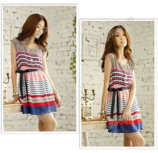 Womens Summer Sleeveless Casual Colorful Stripes Party With Belt Mini