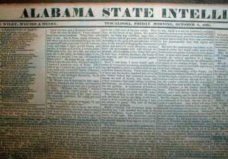 TUSCALOOSA Alabama newspaper CHEROKEE INDIAN REMOVAL Trail of Tears