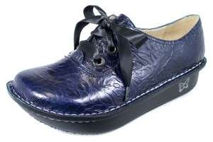 Womens ABBI ROSE Navy Blue Embossed Leather Oxfords Shoes ABB 533