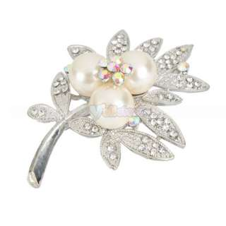 Pretty Leaf shaped Style Rhinestone Imitation Pearl Brooch Pin