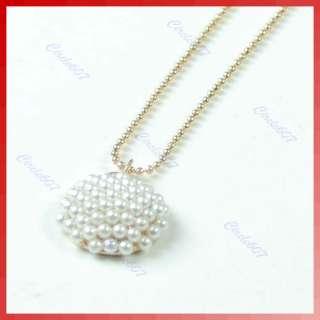 Gold Plated Hemisphere Full White Beads Pearl Mushroom Necklace Chain