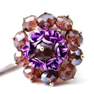 d8015 Purple Flower Faceted Crystal Gems Beads Adjustable Ring