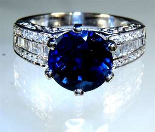 kt W/Gold 5.12 tcw Round Blue Natural Sapphire & Diamond Ring