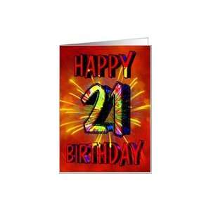 21st Birthday Card with fireworks Card: Toys & Games