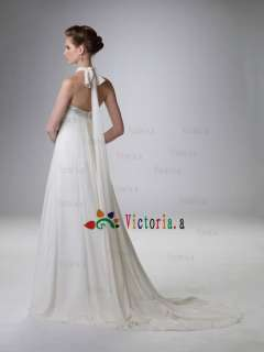 White/Ivory Chiffon Empire Waist Beaded Wedding Dresses/Gowns