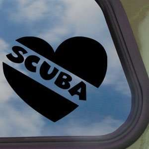 Scuba Diver Heart Black Decal Dive Flag Car Sticker