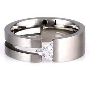 316L Steel Engagement Wedding Promise Band Ring Russian Ice CZ size 9
