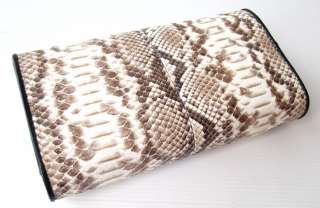100% GENUINE PYTHON SNAKE LEATHER TRIFOLD CLUTCH WALLET MAGNETIC