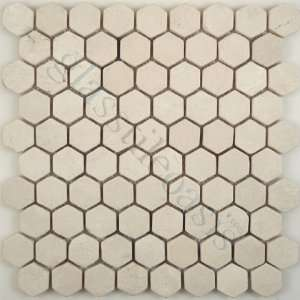 Crema Marfil Hexagon Cream/Beige Kitchen Tumbled Stone