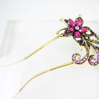 Purple flower Vintage U hair pin clip claw HC36B
