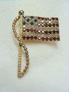 Rafaelian Red Clear And Blue Rhinestone Flag Pin Brooch
