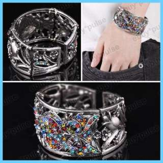 Stylish Tibetan Silver Crystal Rhinestone Colorful Owl Bangle Bracelet