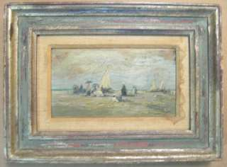 Impressionist Oil Painting Beach Scene Signed Muché c.1900