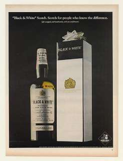 1967 Black & White Scotch Whisky Bottle Gift Box Ad