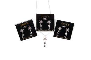 New Figure Skating Blades & Snowflakes Earrings Silver Tone Stock