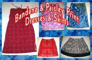 Bandana & Paisley Print Skirts, Skorts & Dresses S XL