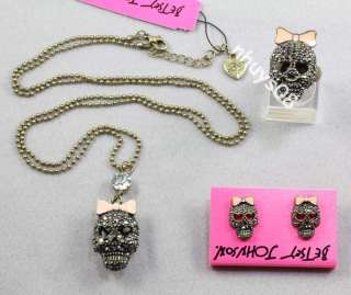 Ship Betsey Johnson CRYSTAL SKULL Earrings Necklaces Ring Set