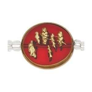 Blue Moon Orient Express Glass Beads 6/Pkg Round Red/Gold