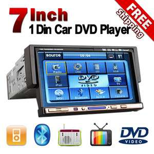 Touch Screen 1DIN Car Radio Audio DVD Player TV Tuner