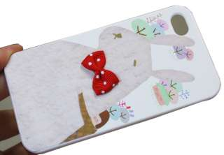 Girl and Bow Rabbit Front and Back Hard Case Cover for iPhone 4 4G